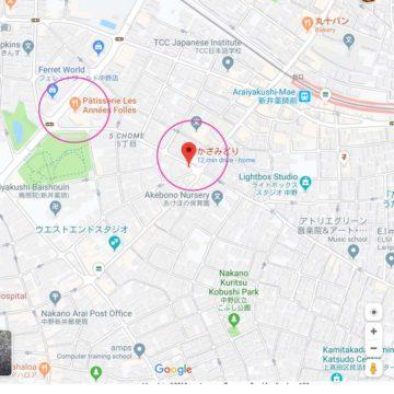 中野(新井薬師前)地図 Google Mapより